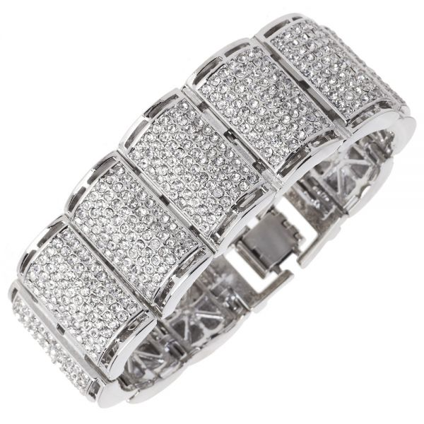Iced Out Bling Hip Hop Bracelet Armband - RICK silber