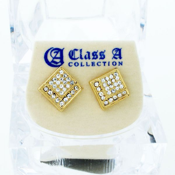 Gold Bling Iced Out Ohrstecker - EDGED 10mm