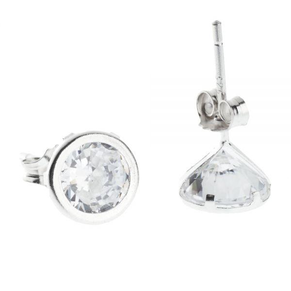 925 Sterling Silber APRIL Ohrstecker - Zirkonia WHITE 7mm