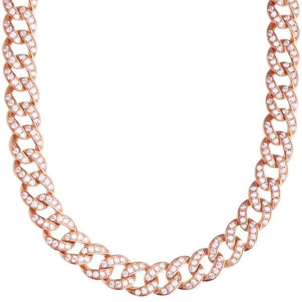Premium Bling Sterling Silber Miami Kette - 9mm rose gold