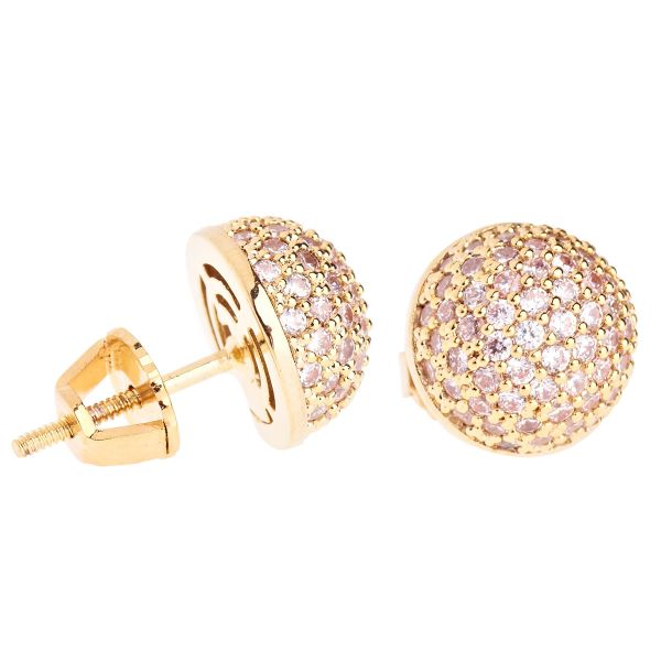 Iced Out Bling Micro Pave Ohrstecker - BALL 10mm gold