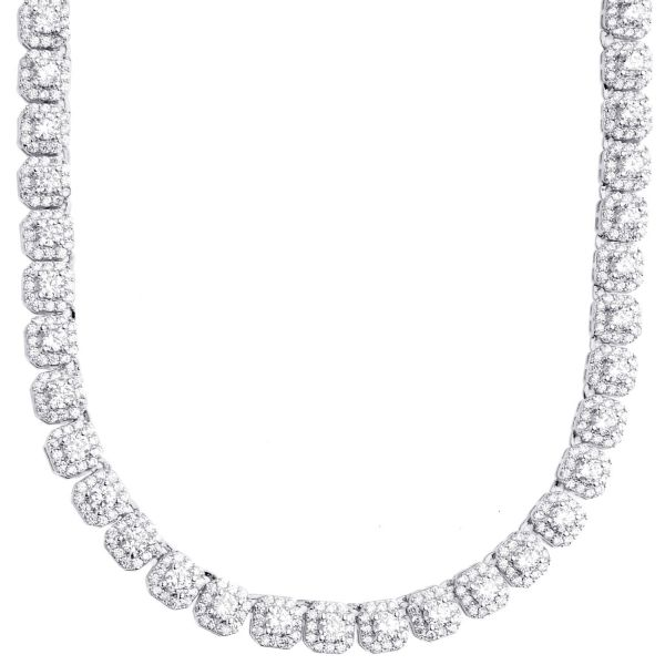 Iced Out Bling Zirconia Tennis Chain - CLUSTER 5mm gold 55cm