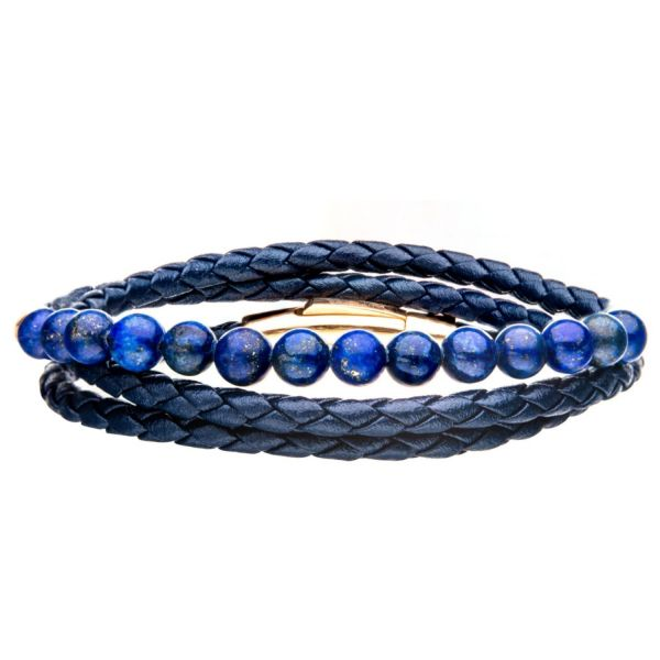 Double Wrap Blue Leather with Lapis Beads Bracelet