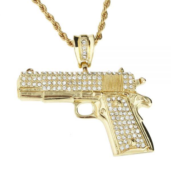 Iced Out Bling Hip Hop Kette - PISTOLE gold