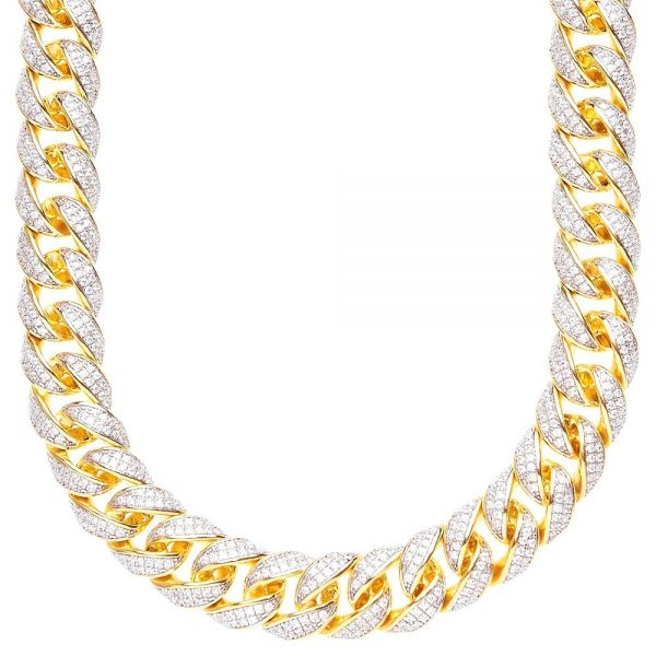 Sterling 925er Silber CZ Bling Kette - MIAMI CURB 12mm gold
