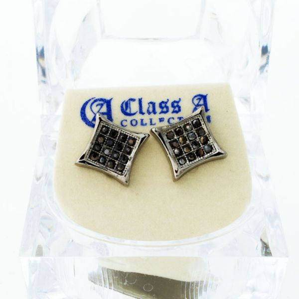 Black Bling Iced Out Ohrstecker - PAVE KITE 10mm