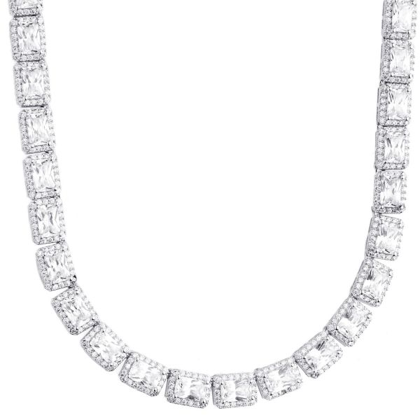 Iced Out Bling Zirkonia Tennis Kette - SQUARE 6mm