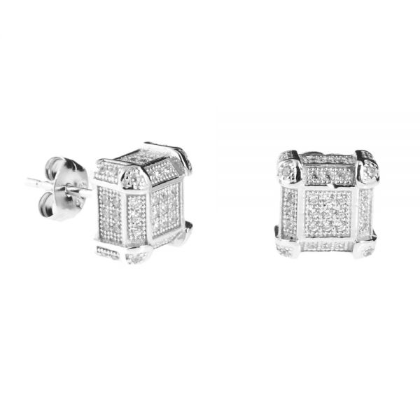 925er Silber MICRO PAVE Ohrstecker - PALACE 9mm