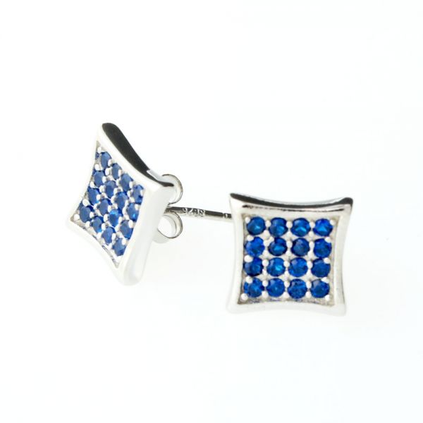 Sterling 925er Silber Ohrstecker - CRYSTAL 10mm blau