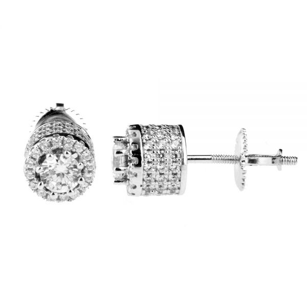 Sterling 925 Silber MICRO PAVE Ohrstecker - HIGH 8mm