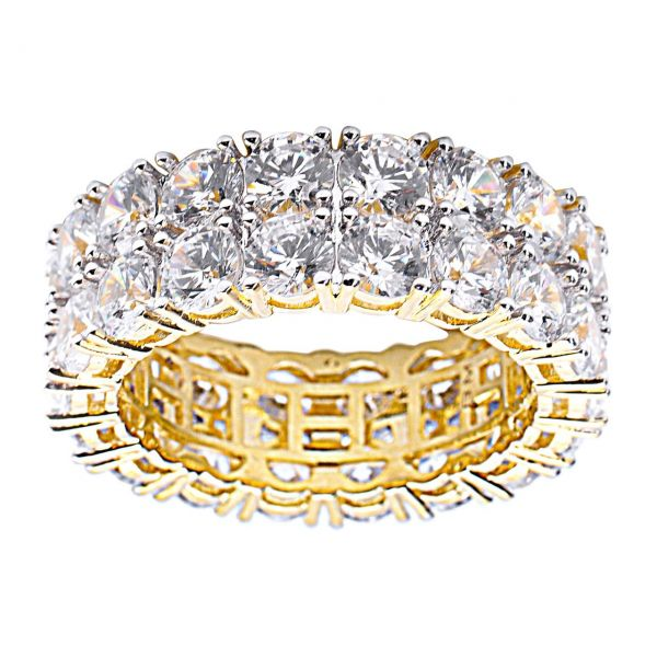 Sterling 925er Silber Micro Pave Ring - DOUBLE ROW gold