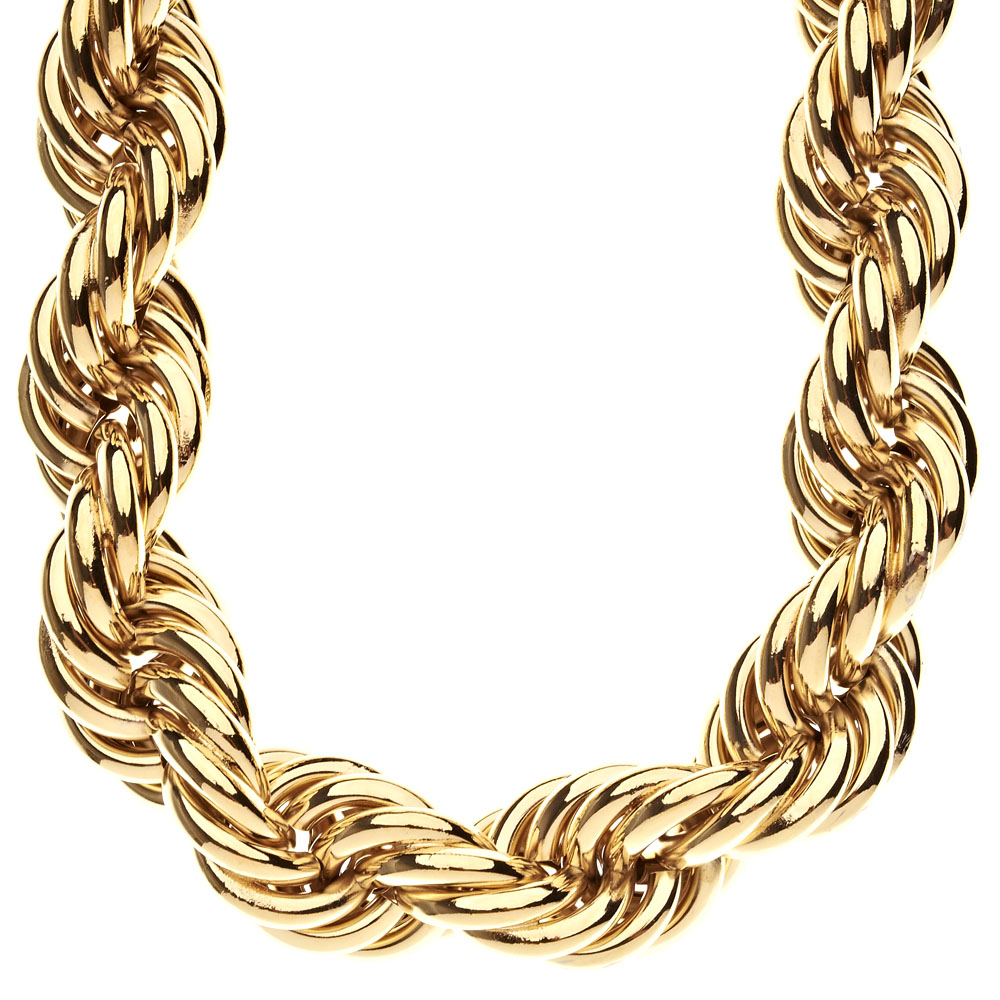 Hip hop goldkette  Heavy Rope DMC Style Hip Hop Kordelkette - 25mm gold ...