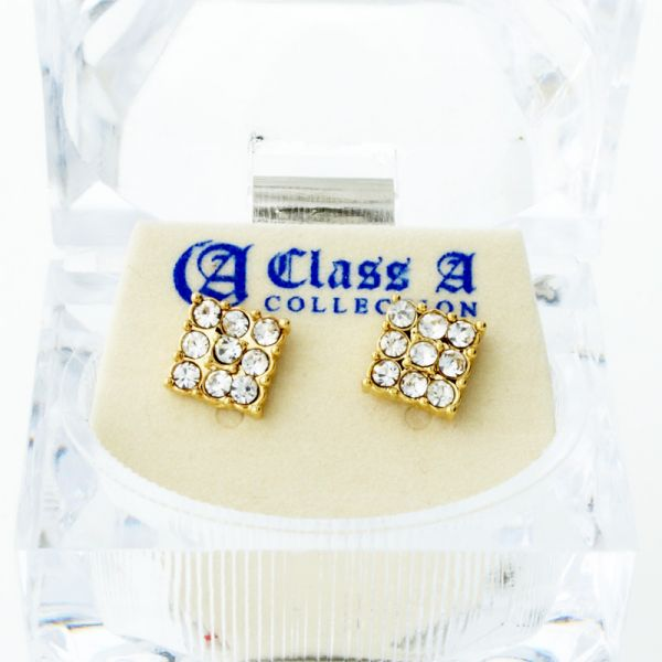 Iced Out Bling Ohrstecker Box - 3x3 SQUARE gold