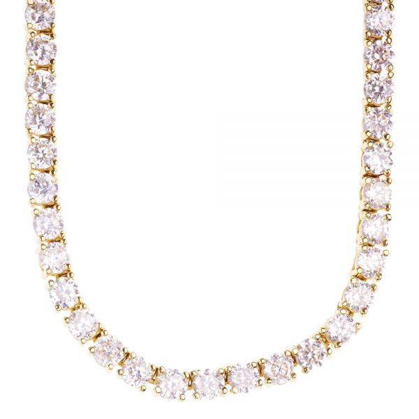 Iced Out Bling ZIRKONIA STEINE 1 ROW Kette - gold / klar 4mm