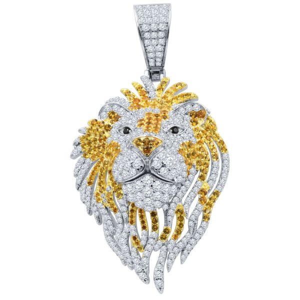 925 Sterling Silver 3D Pendant - ICED OUT FIRE LION gold