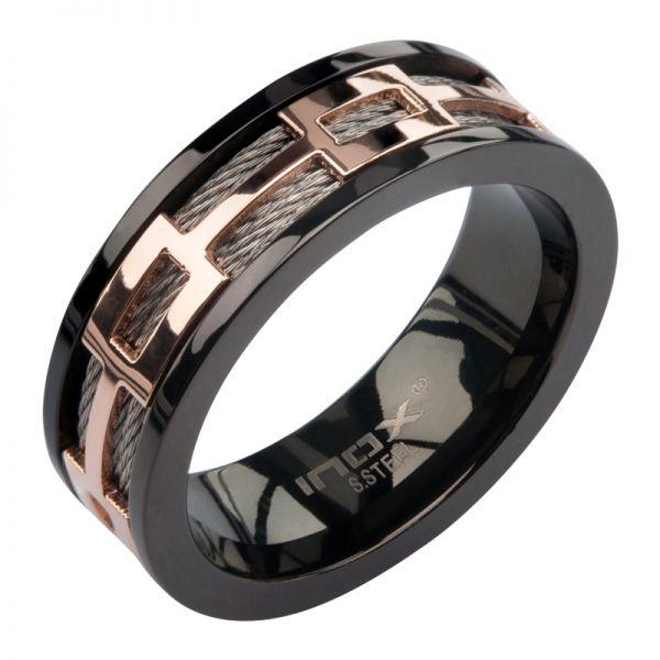 Herren Edelstahl Ring mit Kabelschnur, IP Schwarz