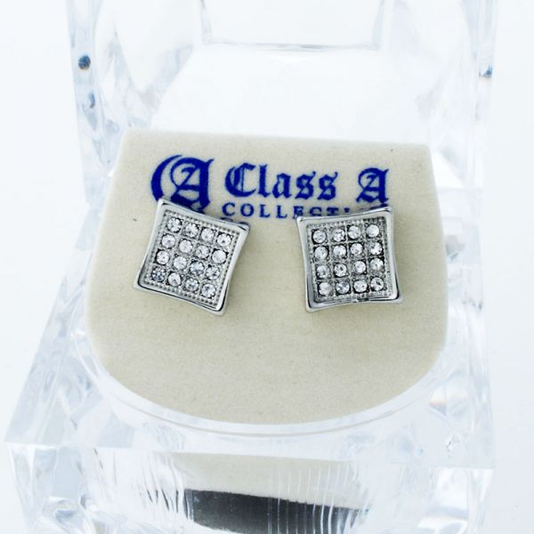 Bling Iced Out Ohrstecker - PAVE SQUARE 9mm