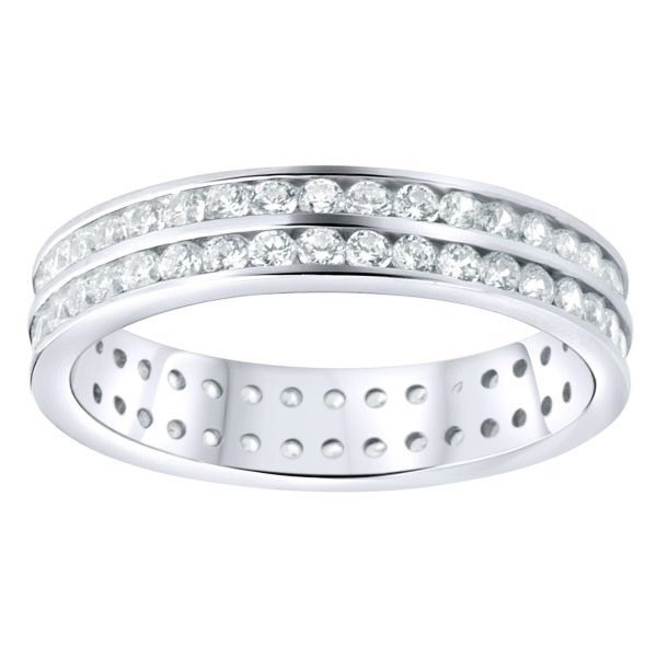 Sterling 925er Silber Pave Ring - Double Lines Eternity