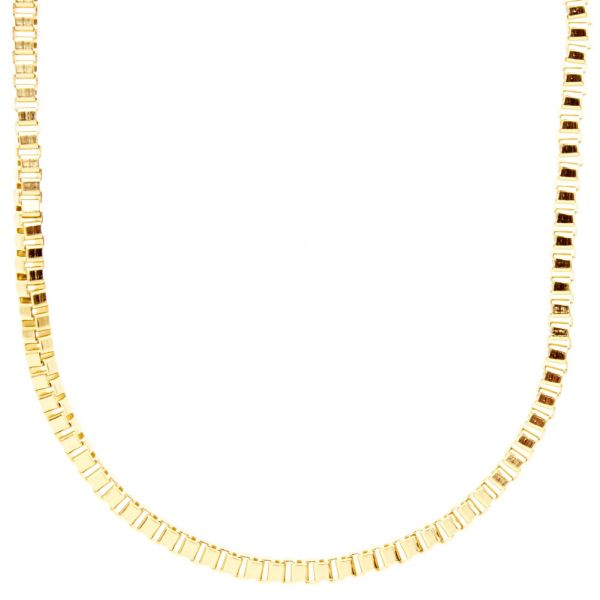 Iced Out Bling Fashion SLIM Box Kette - 4mm gold