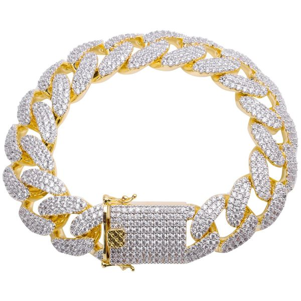 Iced Out Bling CUBAN Bracelet - 18mm gold