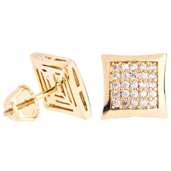 Iced Out Bling Micro Pave Ohrstecker - KITE 10mm gold