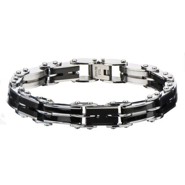Men's Stainless Steel Black IP H-Link Reversible Bracelet