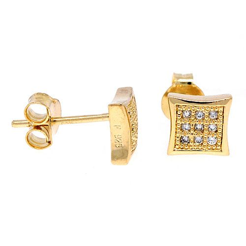 Sterling 925 Silber MICRO PAVE Ohrstecker - BLING 8mm gold