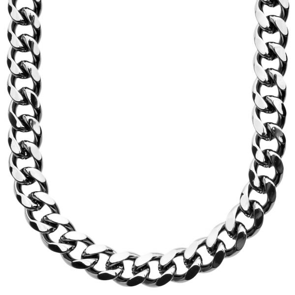 Iced Out Bling MIAMI CUBAN CURB CHAIN - 10mm black