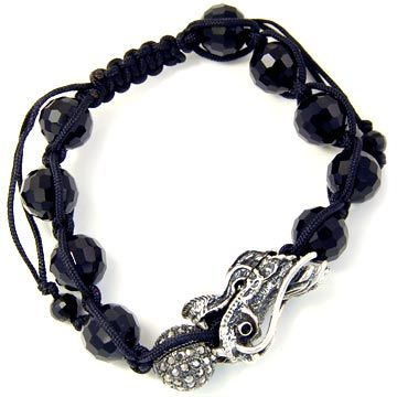Unisex Bling Bracelet - DISCO BALL ONYX DRAGON hem