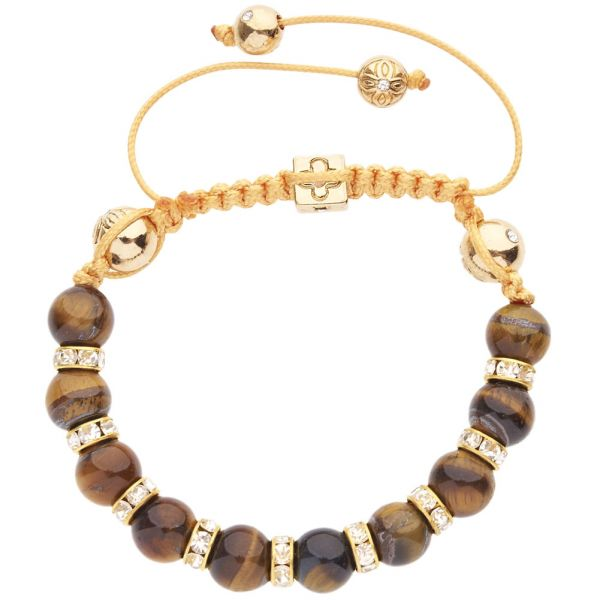 Unisex Marcrame Bracelet - TIGER EYE gold