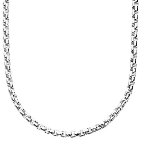 Iced Out Bling ROUND BOX Chain - 4mm silver - 90cm