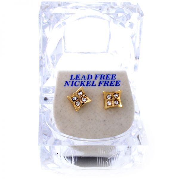 Iced Out Bling Ohrstecker Box - MINI SQUARE gold
