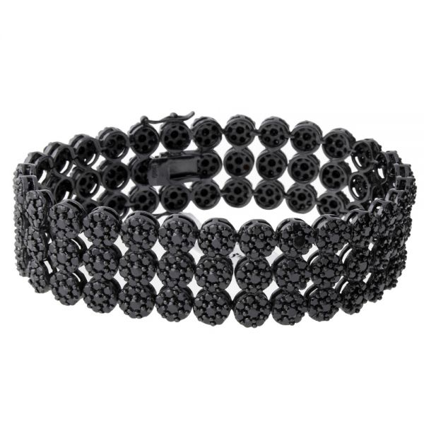 Iced Out CLUSTER High Quality Armband - 3 ROW BLACK
