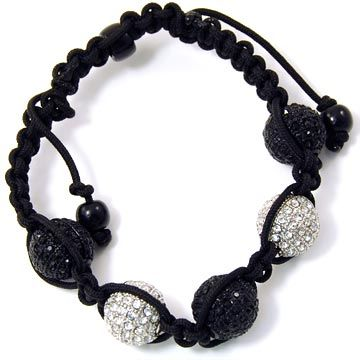 Unisex Bling Armband - DISCO BALL DOUBLE KNOT silber / bk