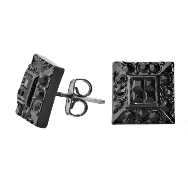 Iced Out Bling Ohrstecker Box - HOT SQUARE schwarz