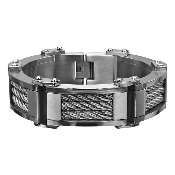 Men's Stainless Steel Three Cable Matte Polish Bracelet