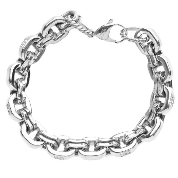 Iced Out Edelstahl ANKER Armband - 12mm silber