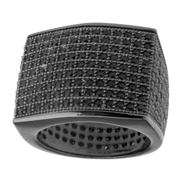Iced Out Bling Micro Pave Ring - BLOCK schwarz