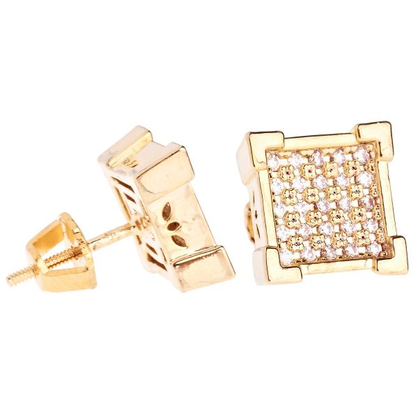 Iced Out Bling Micro Pave Earrings - KING 10mm gold