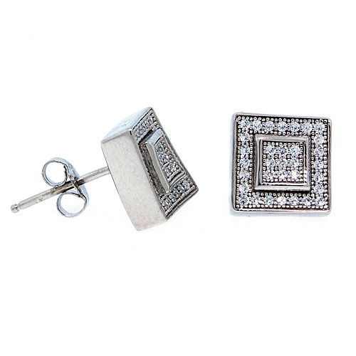 Sterling 925 Silber MICRO PAVE Ohrstecker - LAYER 9mm