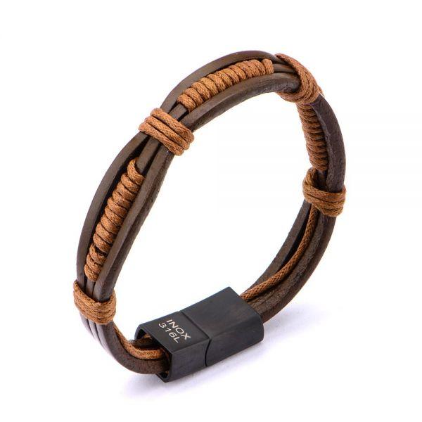 Herren Braun Rope Wrapped in Braun Leder Armband