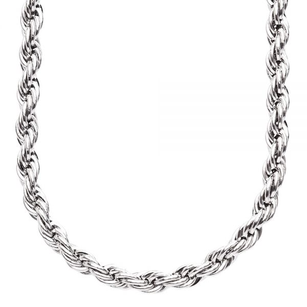 Iced Out Stainless Steel ROPE Chain - 6mm silver