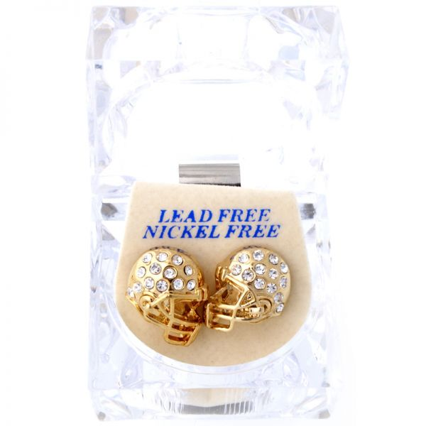 Iced Out Bling Ohrstecker Box - FOOTBALL HELM gold