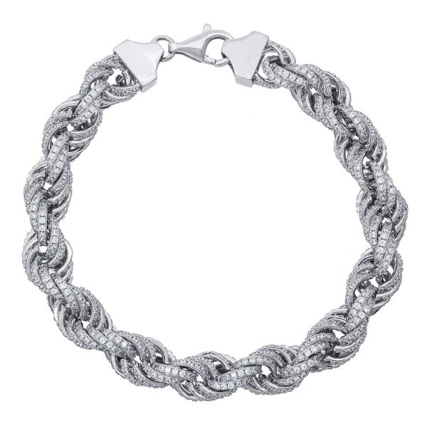 Premium Bling 925 Sterling Silber Armband - CZ ROPE 11mm
