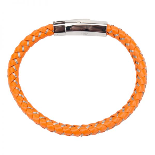 Armband für Herren aus orangem, gewebten Leder