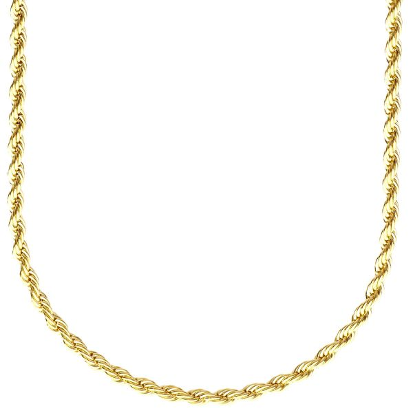 Fashion Unisex Rope Kordelkette - 3mm gold