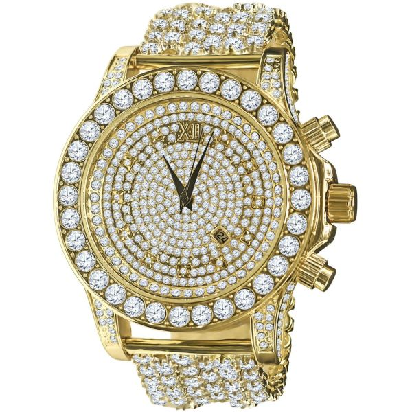 BURNISH High Quality FULL ICED OUT CZ Watch - gold