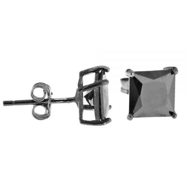 925 Sterling Silber CAST Bling Ohrstecker - eckig / schwarz