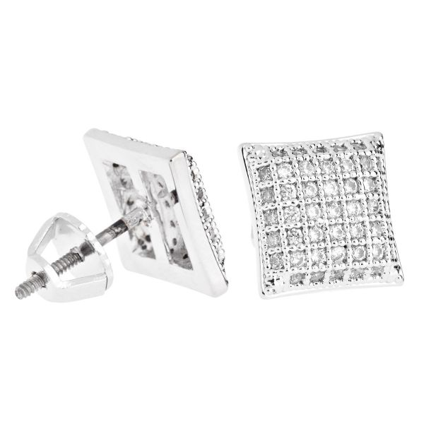 Iced Out Bling Micro Pave Ohrstecker - PAD 10mm