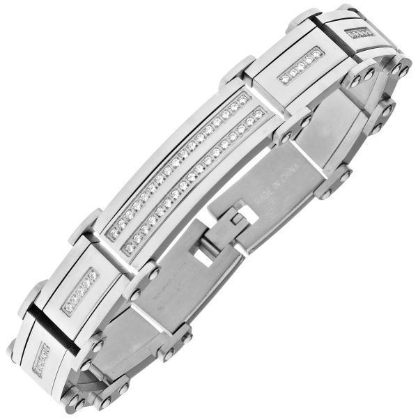 Iced Out Stainless Steel Solid CZ Bracelet - 16mm silver